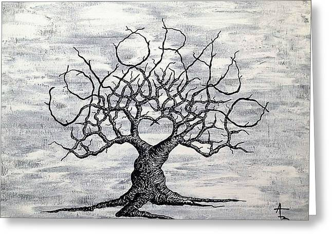 Greeting Card featuring the drawing Colorado Love Tree Blk/wht by Aaron Bombalicki