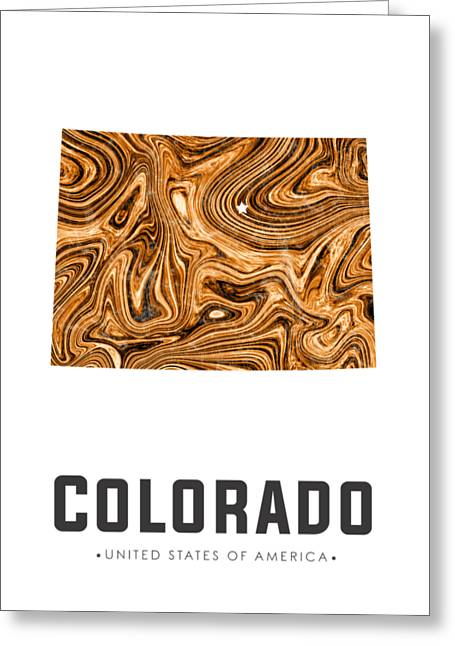 Colorado Map Art Abstract In Brown Greeting Card