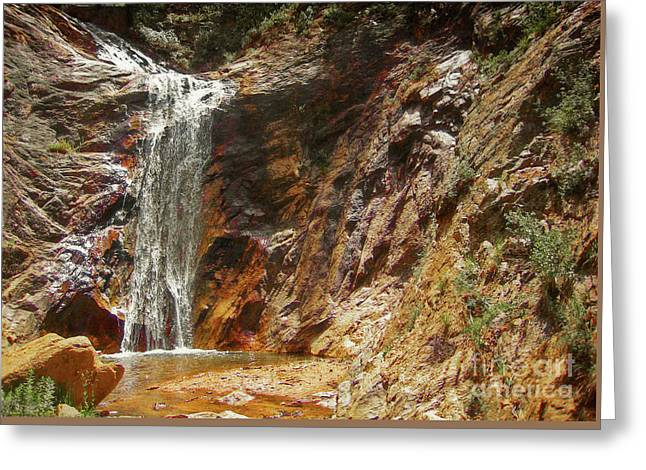 Greeting Card featuring the photograph Colorado Red Rock Waterfall by Andrea Hazel Ihlefeld