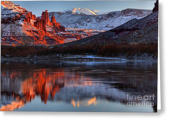 Colorado Red Tower Reflections Greeting Card by Adam Jewell