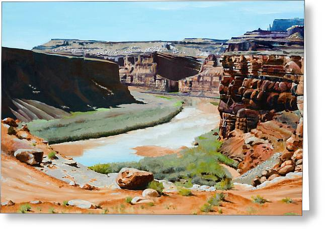 Colorado River Bend Greeting Card by Lester Nielsen