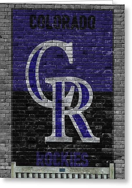 Colorado Rockies Brick Wall Greeting Card by Joe Hamilton