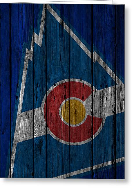 Colorado Rockies Wood Fence Greeting Card