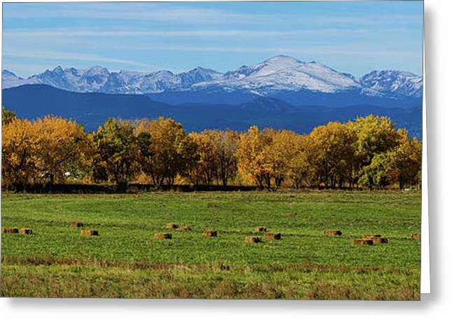 Colorado Rocky Mountain Autumn Hay Harvest Panorama Greeting Card