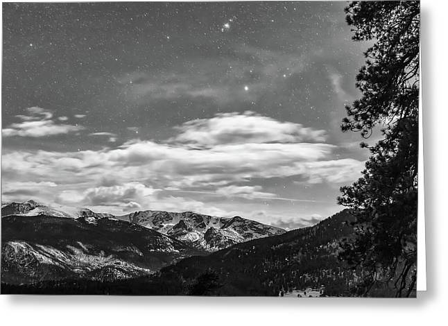 Colorado Rocky Mountain Evening View In Black And White Greeting Card by James BO Insogna