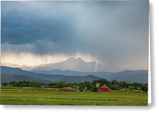 Greeting Card featuring the photograph Colorado Rocky Mountain Red Barn Country Storm by James BO Insogna