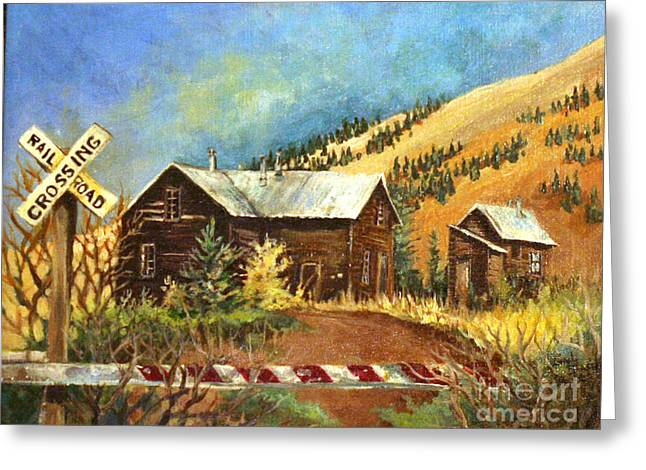 Greeting Card featuring the painting Colorado Shed by Linda Shackelford