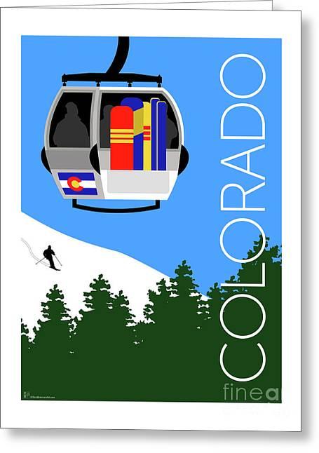 Colorado Ski Country Blue Greeting Card