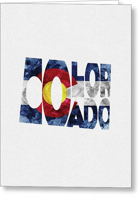 Colorado Typographic Map Flag Greeting Card
