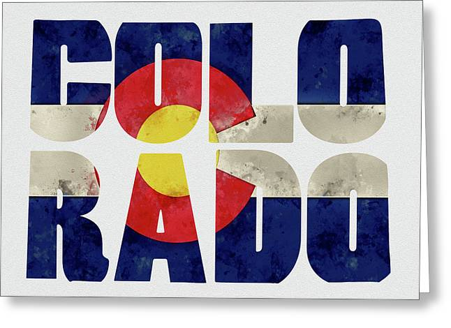 Colorado Typography Map Flag Greeting Card by Kevin O'Hare