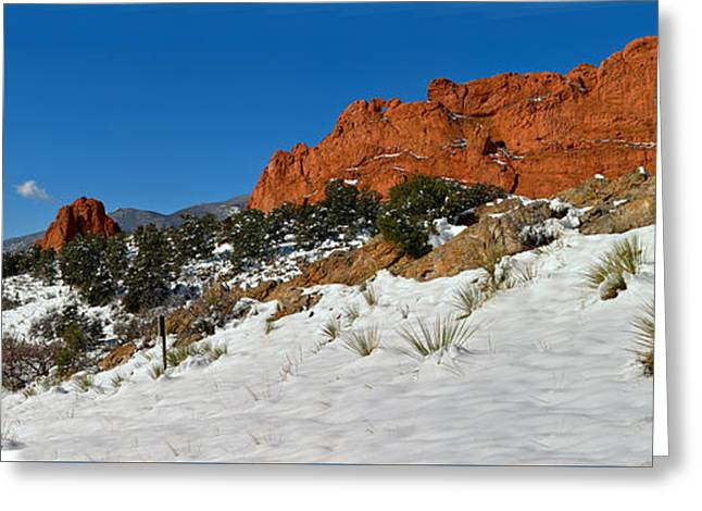 Greeting Card featuring the photograph Colorado Winter Red Rock Garden by Adam Jewell