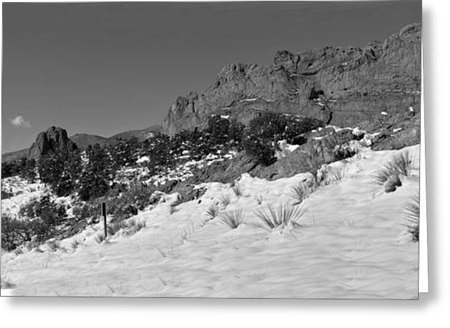 Greeting Card featuring the photograph Colorado Winter Rock Garden Black And White by Adam Jewell