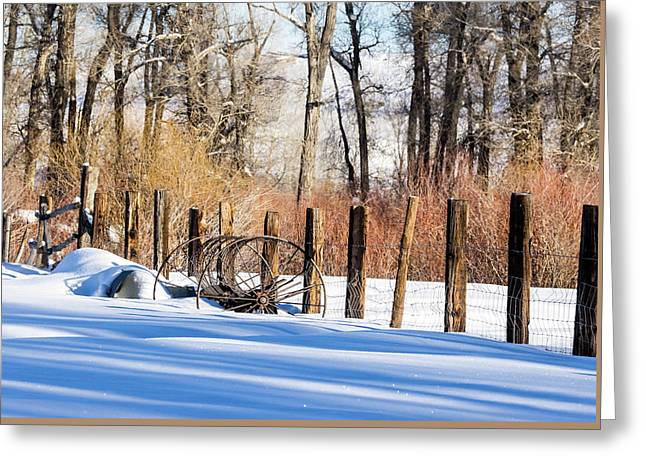Greeting Card featuring the photograph Colorado Winter Snow Scene With Old Farming Rake And Rustic Fence by Nadja Rider