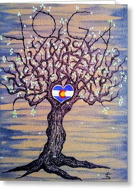 Greeting Card featuring the drawing Colorado Yoga Love Tree by Aaron Bombalicki