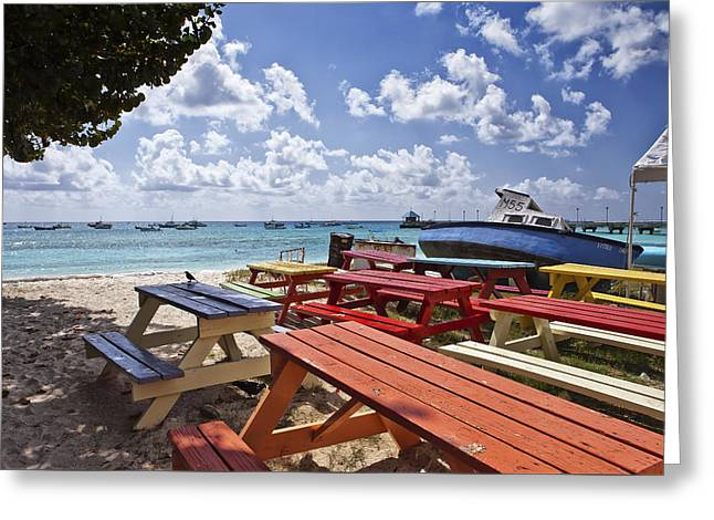 Colored Bench Greeting Card by Jon Glaser