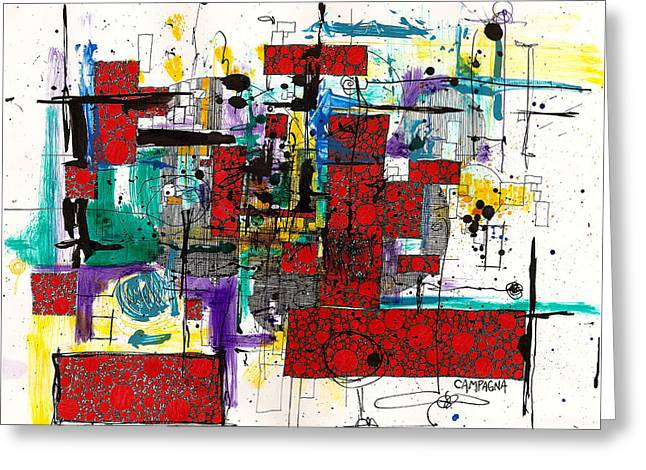Colored Chaos Greeting Card by Teddy Campagna
