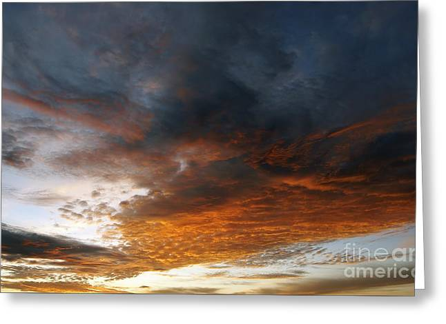 Colored Clouds At Sunset Greeting Card