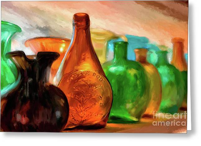 Colored Glass Bottles In The Window Greeting Card