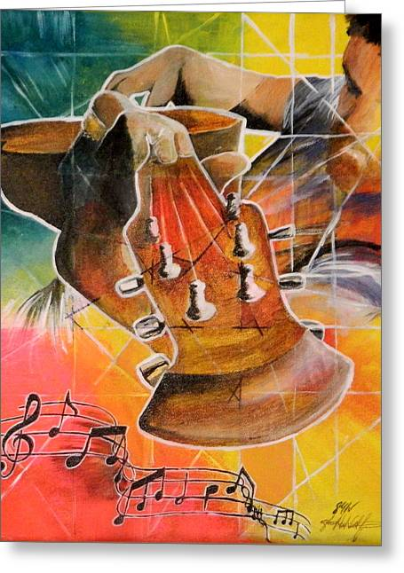 Colored Guitar Expression Greeting Card by Steven Williford