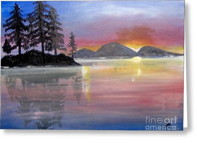 Greeting Card featuring the painting Colored Lake by Saundra Johnson