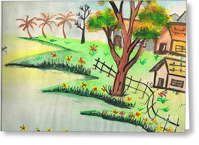 Colored Landscape Greeting Card by Tanmay Singh