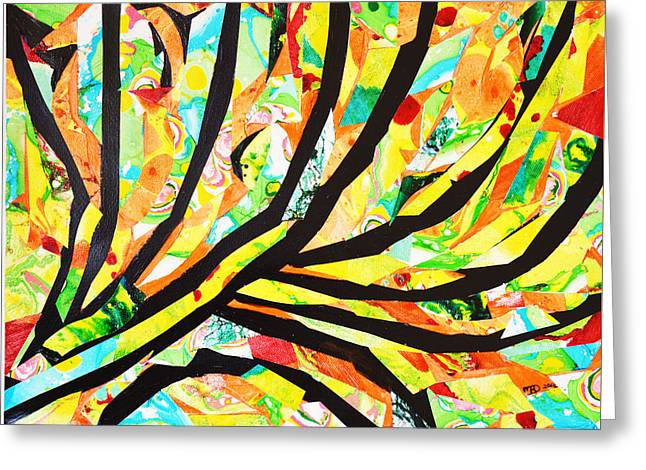 Colored Lightning Greeting Card by Marianne Davidow