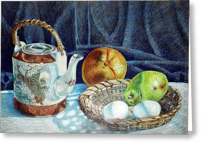 Colored Pencil Still Life No2 Greeting Card by Stephen Boyle
