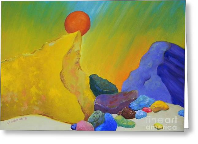 Colored Rocks In Sand Greeting Card by Emily Michaud