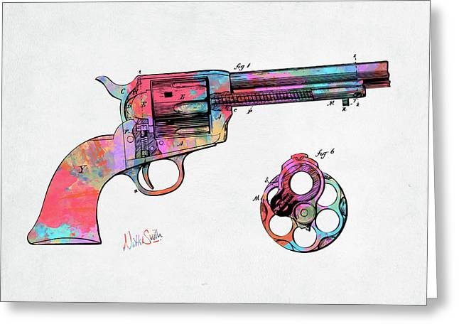 Colorful 1875 Colt Peacemaker Revolver Patent Minimal Greeting Card