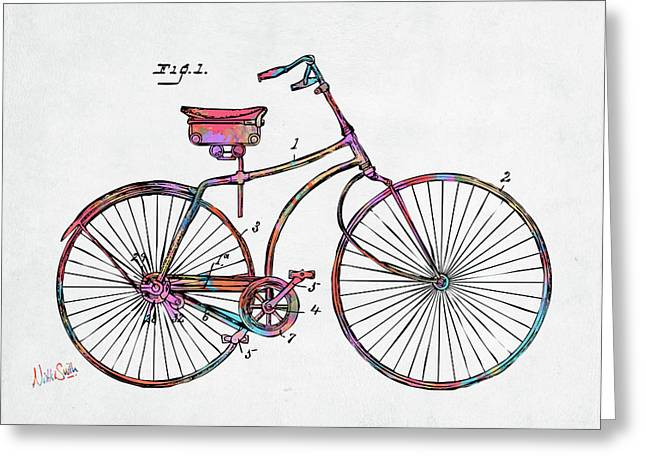 Colorful 1890 Bicycle Patent Minimal Greeting Card