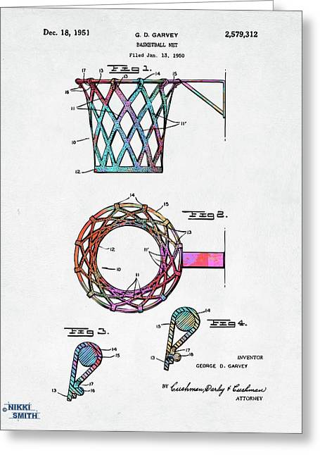 Colorful 1951 Basketball Net Patent Artwork Greeting Card