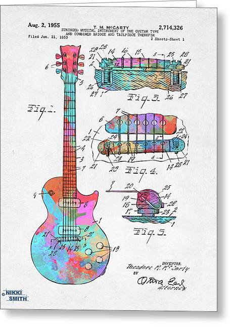 Colorful 1955 Mccarty Gibson Les Paul Guitar Patent Artwork Greeting Card