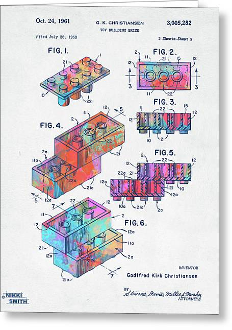 Colorful 1961 Toy Building Brick Patent Art Greeting Card