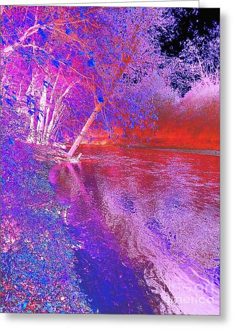 Colorful Abstract Art Of Flat Rock River Columbus Indiana Greeting Card by Scott D Van Osdol