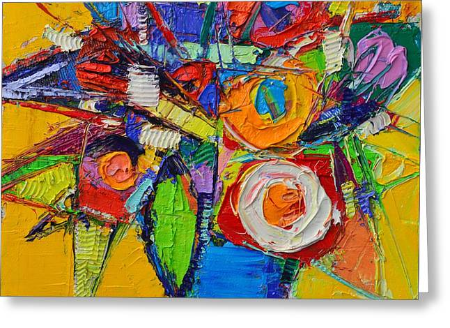 Colorful Abstract Floral Geometry Expressionism Impasto Knife Oil Painting  By Ana Maria Edulescu    Greeting Card