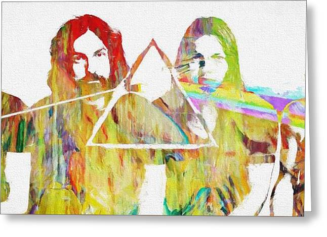 Colorful Abstract Pink Floyd Greeting Card by Dan Sproul