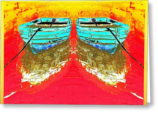 Colorful Abstract Row Boats Greeting Card