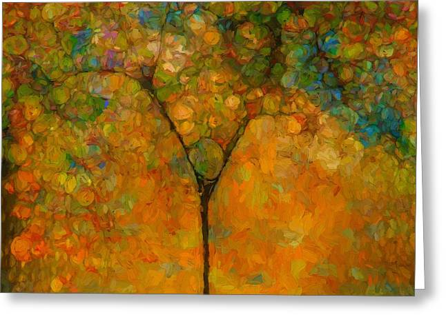 Colorful Abstract Tree Greeting Card by Dan Sproul