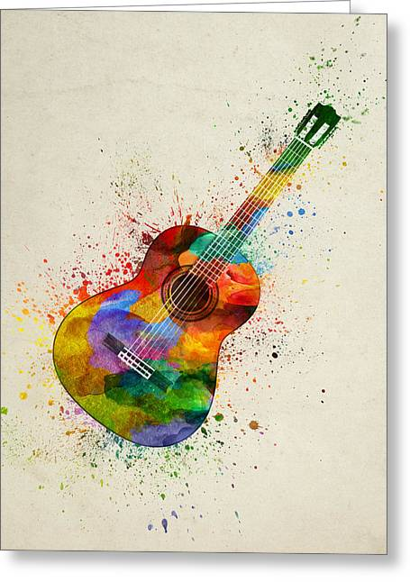 Colorful Acoustic Guitar 01 Greeting Card by Aged Pixel