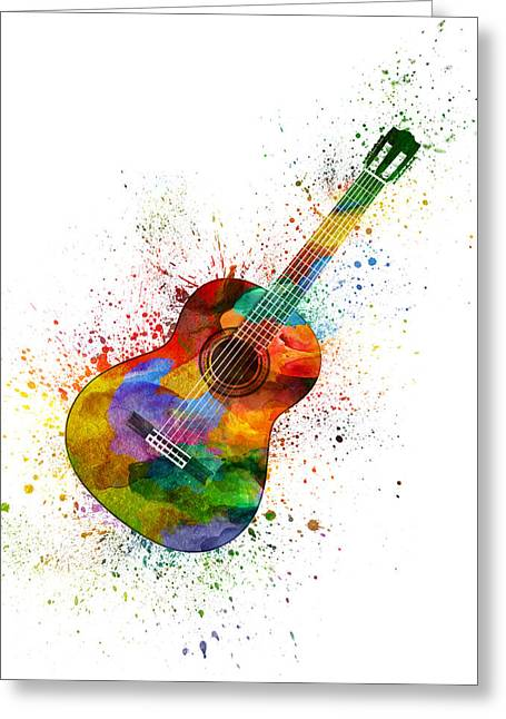 Colorful Acoustic Guitar 02 Greeting Card by Aged Pixel