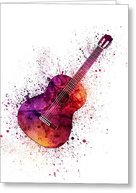 Colorful Acoustic Guitar 04 Greeting Card by Aged Pixel