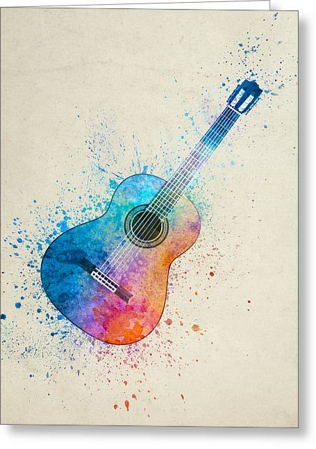 Colorful Acoustic Guitar 05 Greeting Card by Aged Pixel