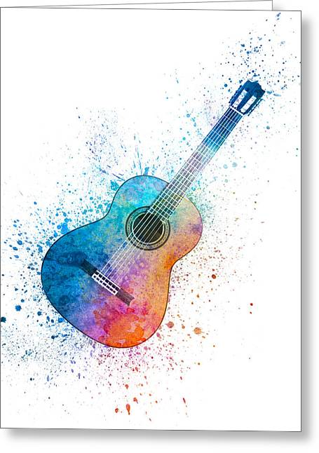 Colorful Acoustic Guitar 06 Greeting Card by Aged Pixel