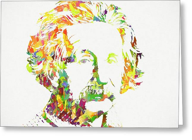Colorful Albert Einstein Greeting Card by Dan Sproul