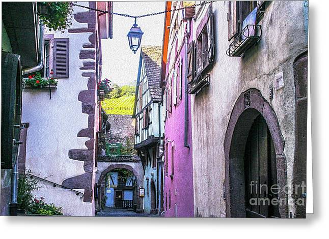 Colorful Alley Of  Riquewihr France Greeting Card