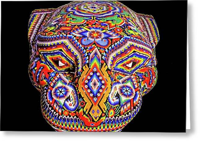 Colorful Ancient Mayan Jaguar Statue Head Greeting Card by Nicholas Romano