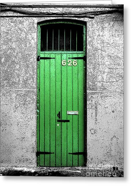Travelpixpro Greeting Cards - Colorful Arched Doorway French Quarter New Orleans Color Splash Black and White with Ink Outlines Greeting Card by Shawn O