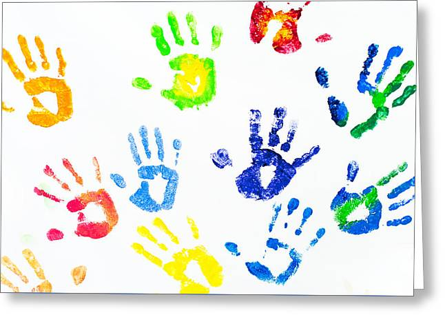 Colorful Arm Prints Abstract Greeting Card by Jenny Rainbow