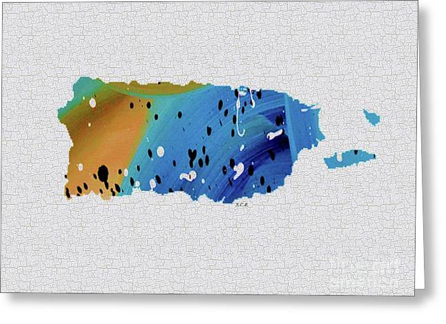Colorful Art Puerto Rico Map Blue And Brown Greeting Card by Saribelle Rodriguez