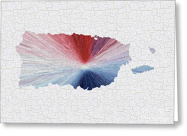 Colorful Art Puerto Rico Map Blue Red And White Greeting Card by Saribelle Rodriguez